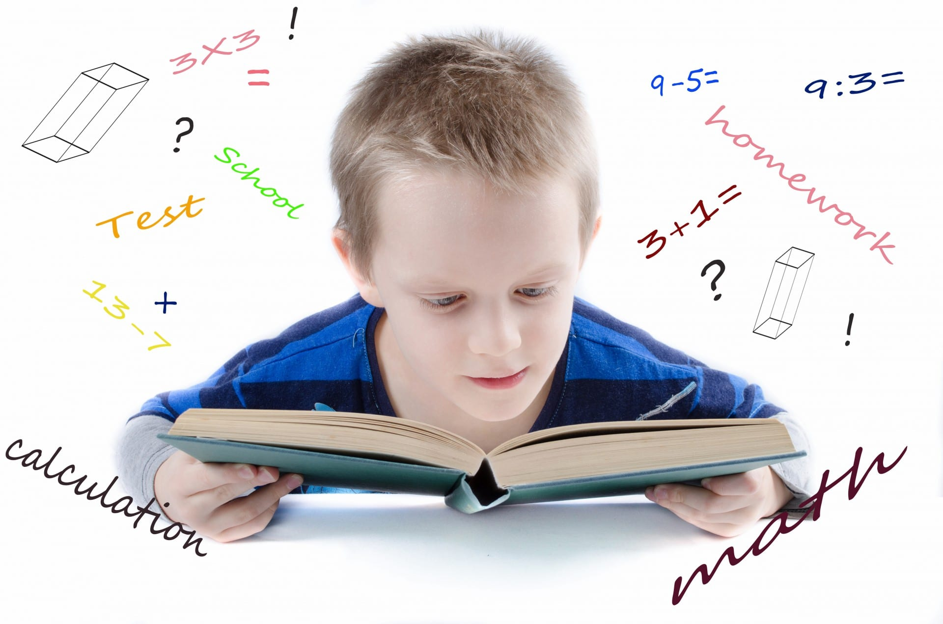 Developmental process of boy looking at school book