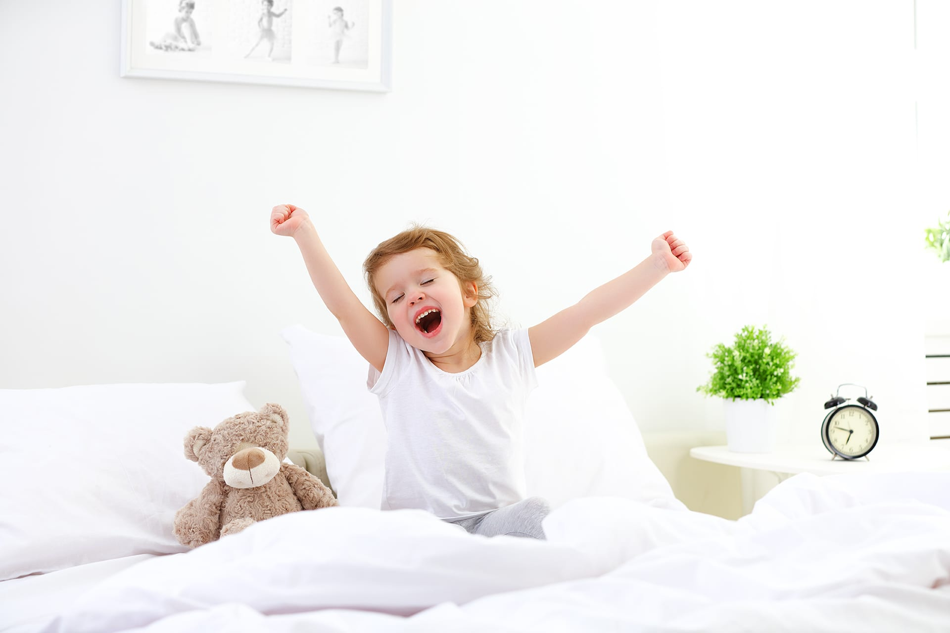 foster care child waking up in bed
